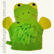 Мочалка-игрушка на руку Лягушонок