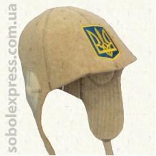 """Шапка для сауны модельная """"Шлемофон с гербом Украины"""""""